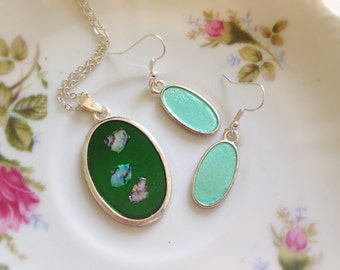 Green and Aqua Necklace and Earring Set. Abalone Sea Shell Fragments. Dangle Earrings. Oval. Silver. Under 20 Gifts for Her. Nautical. Beach