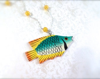 Tropical Fish Necklace. Under the Sea Jewelry. Silver Chain. Yellow. Green. Orange. Summer. Beach. Nautical. Fun Whimsical Gifts. Cute Fish