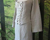MADE TO ORDER: Linen pagan Avalon set, bustle bolero jacket and skirt historical woodland fairy corset witch goth romantic