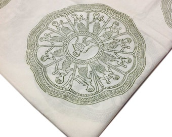 Hand Block Printed Indian Cotton Fabric - Green and White Printed Cotton Fabric by Yard
