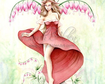 Red Fairy Art - Fantasy Girl Nature Print - Bleeding Hearts Painting - Fashion Illustration  - Sarah Alden