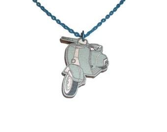 Scooter Necklace, Pastel Blue, Mod, Retro Cute Wood Pendant, Bike