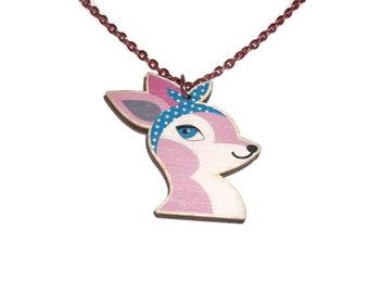 Pink Deer Necklace, Pastel Retro Headband, Rockabilly, Vintage Style, Wooden Laser Cut Pendent
