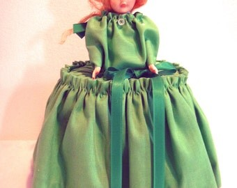 Vintage Kitschy Handmade Strawberry Blonde Doll Tissue Paper Holder in Lime Green Dress