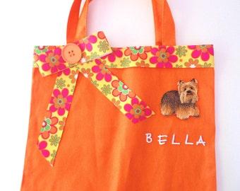 Orange Tote - Pet Tote Bag -Children's Activity Bag- Dog Supply Bag