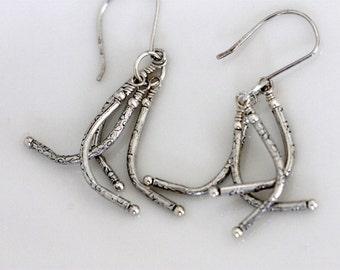 silver tassel earrings | artisan silver jewelry | silver fringe dangle | flower patterned Thai silver earrings | handmade by girlthree