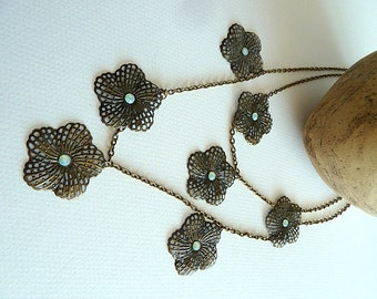 Necklace, Antique Brass Double Strand Flower Necklace, Seven Filigree Antique Brass Flowers, Swarovski Crystals, Rustic Boho Flower Necklace