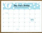 Baby Due Date Calendar - Customized Guessing Baby Shower Game - DIY Printable