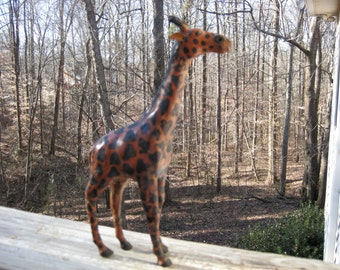 """10"""" tall Leather Giraffe With Glass Eyes Made in India"""