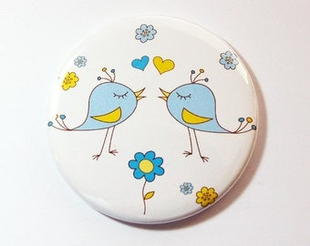 Love Birds mirror, pocket mirror, mirror, purse mirror, gift for her, Love Birds, Hearts, White, Green (3608)