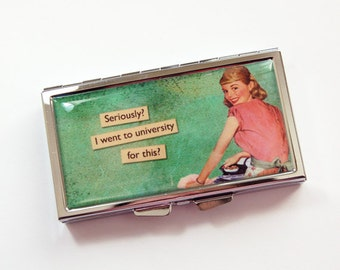 7 day pill box, Funny Pill case, Pill case, 7 day pill case,  Pill box, 7 sections, Pill container, Sassy Women, Retro, Housewife (3910)
