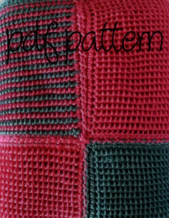 PDF Crochet Pattern - Intermediate Level -  Hot Pink and Heather Grey Squares Afghan Blanket Throw