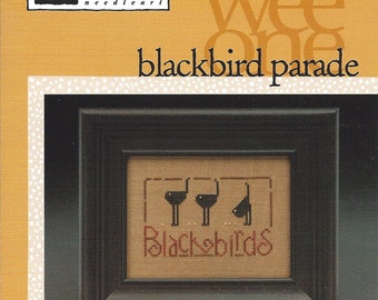 """Clearance - Wee One """"Blackbird Parade"""" Counted Cross Stitch Chart by Heart in Hand"""