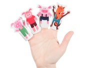 Three Little Pigs Paper Finger Puppets - PRINTABLE PDF - DIY Craft Kit - Party Favor