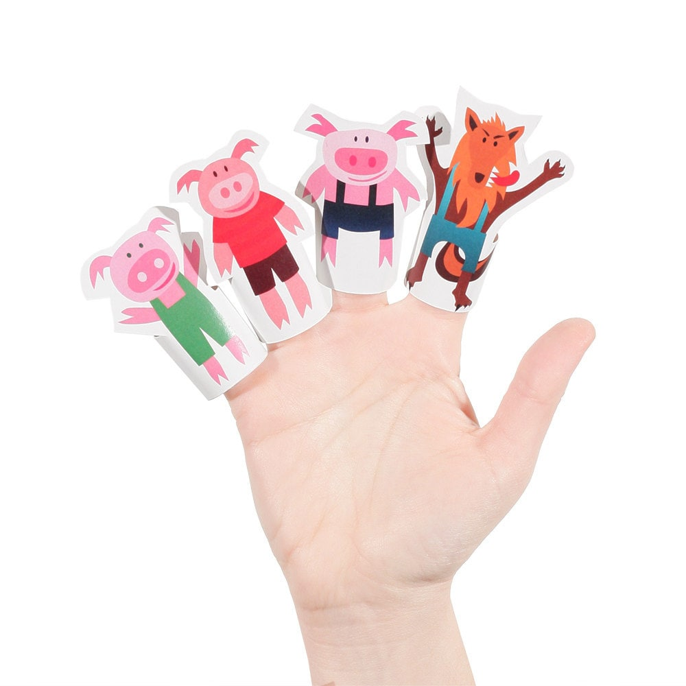 Three Little Pigs Paper Finger Puppets PRINTABLE PDF by pukaca