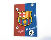 Soccer Birthday Card -  Football Birthday Card - Choose your team -  Custom made - Personalized