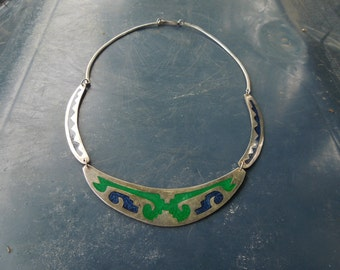 Silver Choker Necklace Enameled Blue and Green Southwestern Style Mexican Native American