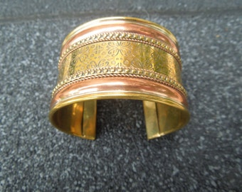 Vintage Brass Copper Cuff Bracelet Engraved