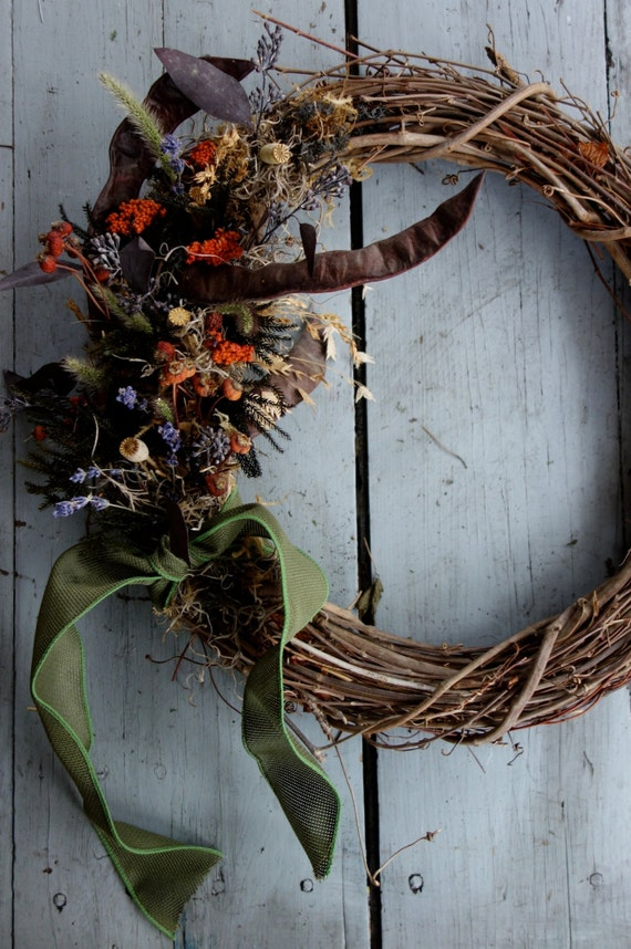 Cornucopia Grapevine Wreath - moss, rosehips, foraged seed pods. Rustic natural organic seasonal winter holiday Christmas New Years