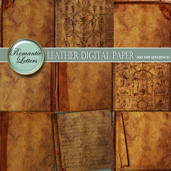 Old Book Covers For Sale ~ Leather texture digital scrapbook paper pack printable