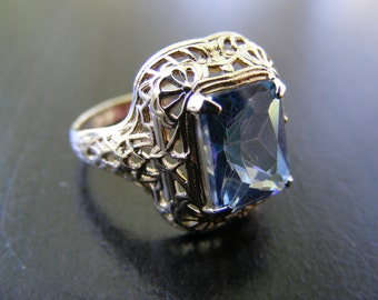 15% Off Sale.S250 New Sterling Silver Antique Style Filigree Ring With 3 Carat Neptune Garden Topaz