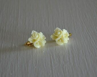 Ivory Blossom Clip on Earrings ~regular stud option available