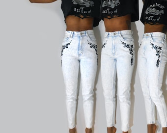 High Waisted Jeans/ Acid Washed Jeans/ 80s Jeans/ 90s Jeans/ 80s Acid Wash Jeans/ Acid Wash Denim/ Cybergoth/ Mom Jeans/ 90s Denim/ Clueless