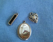 3 Piece Pendant Set, Sterling, Heart, Mother of Pearl, Black Onyx, Landscape