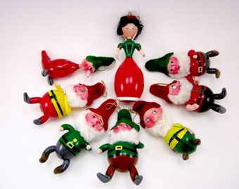 Vintage De Carlini Snow White And The Seven Dwarfs Set Italian Figural Christmas Holiday Ornaments