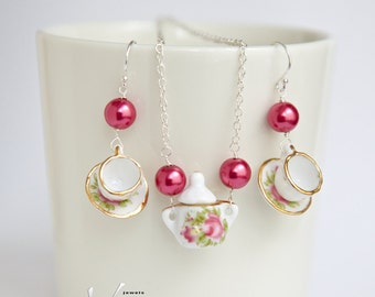 Delicate sterling silver with teacup / coffee cup earrings and pendant, porcelain, fashion earrings with fuchsia pink pearls and necklace
