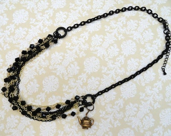 Gothic Jewelry Multi-Chain Necklace Teapot charm Gothic Necklace Alice in Wonderland Jewelry Victorian Necklace Victorian Jewelry Steampunk