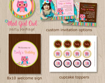 Girl Owl Birthday Party Package - Pink Owl Birthday - Owl Birthday - Owl Party - Cute Owl Party - Printable Owl Party