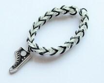 Black & White Sneaker Charm Loom Band Bracelet, Charm Bracelet.