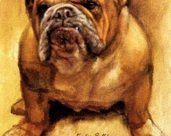 Antique Sepia English Bulldog  Photo Decoupaged on Wood