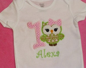 Personalized Owl Birthday Onesie