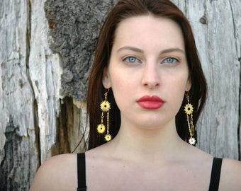 Steampunk Chain & Dangle Clockwork Earrings--Made with Real Upcycled Vintage Clock Gears-OOAK Edgy  Fashion Miniature Saw Blade Earrings
