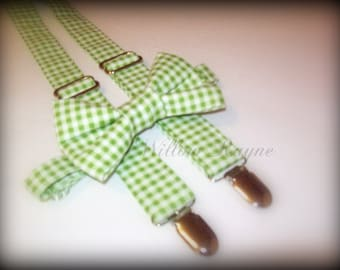Green Gingham Bow Tie and Suspenders Set -baby boy suspender and bow tie - babys toddlers boys suspenders- wedding - photo prop -