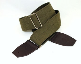 Olive Green Linen Classic Guitar Strap
