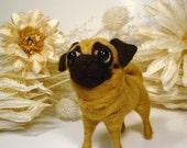 Pug, Needle Felted Pug, Whimsical Pug Puppy, Fawn Pug, Handmade Pug