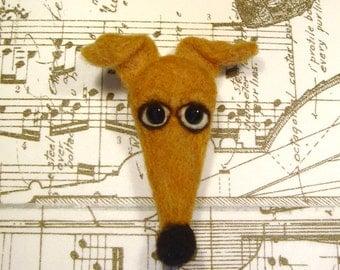 Greyhound Pin, Needle Felted Greyhound Pin, Italian Greyhound Pin, Whippet, Galgo