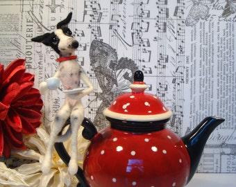 Italian Greyhound Teapot, Greyhound, Needle felted Greyhound, Iggies, IG's