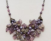 Purples Burgundy Glass Leaf Bib Necklace, Purple Bridal Necklace, Winter Wedding Jewelry, Christmas Gift for Her,  N426