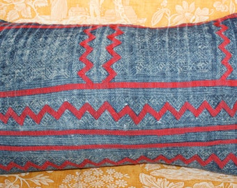 Vintage applique Hmong Textile Pillow with linen back from Thailand