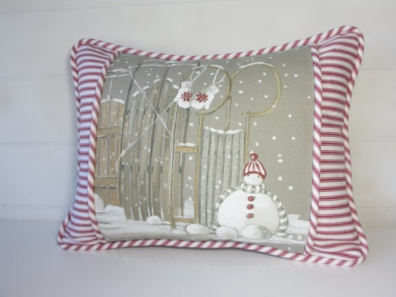 Items Similar To Snowman Christmas Pillow Cover Grey
