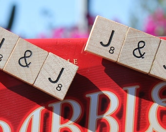 Scrabble Tile magnet with your initials & an ampersand