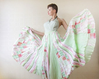 Green pink colorful extra full pleated maxi skirt