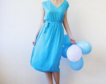 Sky blue chiffon belted over the knee goddess midi dress M