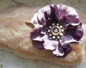 Hair flower pin, with Swarovski crystals.Tribal Fusion belly dance, light violet color