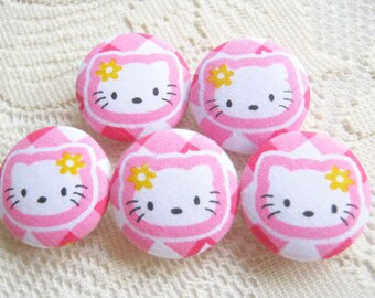 Fabric Covered Button Kitty in Pink Set 5pcs, 25mm, woman, spring, cute ,quilt,flower, handmade, magnet, baby shower, pencil case decoration