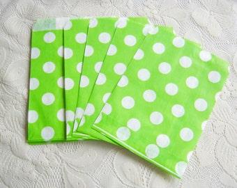 Green White Dot Paper Bags, Green Kraft Gift Bag 25pcs, Candy paper bag - 5 x 7inch - party favors treat or treat bag, Wedding, Gift Bag,